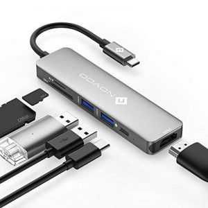 USB C Hub avec Power Delivery 6-en-1 Novoo Adaptateur USB-C vers HDMI 4K, Lecteur de Carte SD & Micro SD, 2 x USB 3.0, Port de Recharge PD 2.0 En Aluminium pour MacBook 12 MacBook Pro ChromeBook Pixel Lenovo Yoga 910 Huawei Matebook, Gris de la marque NOV image 0 produit