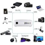 Vidéoprojecteur LESHP Projecteur Multimédia avec HDMI & AV Câble Full HD 1080P LCD 1280 x 1920 720P Support TV, Smartphone, PC, USB, VGA, SD (Blanc) de la marque LESHP image 1 produit