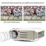 Vidéoprojecteur, Abask 1080P HD 3100 Lumens LCD Portable Théâtre Domestique Multimédia , Soutenir HDMI, USB, AV, VGA, pour le TV,/Xbox/Jeux Video/ HD Vidéo Entrées Cinéma Privé Divertissements à Domicile de la marque Abask image 1 produit