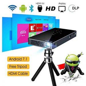 Vidéoprojecteur HD, ExquizOn P8I Mini Vidéoprojecteur DLP Android 7.1 1G RAM + 8G ROM Projecteur Intelligent 100 ANSI Lumens 854 * 480 Soutien WiFi Bluetooth 4.0 1080P avec 2 * USB HDMI TF Interfaces Batterie Intégrée pour Home Cinéma de la marque ExquizO image 0 produit