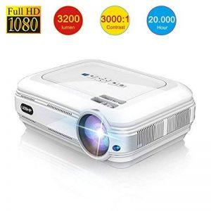 Vidéoprojecteur, LESHP 1080p Full HD Projecteur LCD Retroprojecteur Portable Home Cinéma 3200 Lumens Soutien HDMI/VGA/USB/AV/TV/YPbPr Blanc de la marque Cozime image 0 produit