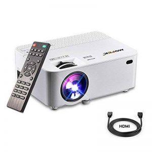 Vidéoprojecteur, Mofek 1800 Lumens Mini Projecteur Portable LED Retroprojecteur Soutien Full HD 1080 P HDMI USB SD VGA AV, pour les parties de divertissement de cinéma maison Parties Compatible avec Amazon Fire TV Stick de la marque image 0 produit