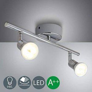 VINGO 2X4W LED Plafonnier Spots lampe Lampe de Salon Spot de plafond Applique de Plafond GU10 pour Salle de bain chamber cuisine couloirs Salon 2 spots Blanc Chaud orientable de la marque fsders image 0 produit