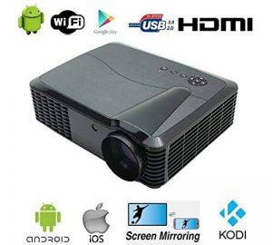 """WIFI Videoprojecteur Full HD 1080P Native Résolution 4500 Lumen 7000:1 Home cinéma Cinema Android TV HDMI 1920 x 1080 Native LCD LED Projecteur Home Cinéma 1080p HD Android Wifi 200 """"Taille de projection grand Vidéo Gaming Movie Fire Stick avec HDMI pour image 0 produit"""