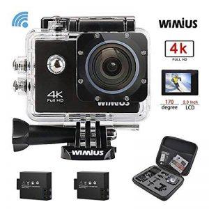 """WiMiUS Q1 Caméra Sport 4k WIFI Ultra HD 16MP Caméra d'Action Sportive Etanche 40M 2"""" LCD Ecran, 170° Grand Angle Kit d'Accessoires avec 2 Batteries et Housse Portable (Noir) de la marque WiMiUS image 0 produit"""