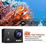 """WiMiUS Q1 Caméra Sport 4k WIFI Ultra HD 16MP Caméra d'Action Sportive Etanche 40M 2"""" LCD Ecran, 170° Grand Angle Kit d'Accessoires avec 2 Batteries et Housse Portable (Noir) de la marque WiMiUS image 1 produit"""