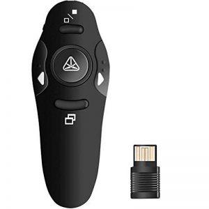 Wireless Presenter Présentation PowerPoint Clicker PPT USB 2,4GHz télécommande Pointeur laser Bureau vocale à l'école assemblages jusqu'à 10M-15m Gamme Control–Noir de la marque kaersishop image 0 produit
