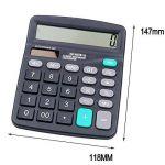 WOOPOWER Bureau calculatrice de bureau solaire et batterie Power calculatrice électronique portable Grand écran LCD à 12chiffres calculatrice, 147x 118mm de la marque WOOPOWER image 3 produit