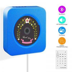 Wrcibo Lecteur CD mural pour maison Lecteur CD Portable avec télécommande construit Bluetooth MP3 haut-parleurs USB HiFi - Bleu de la marque Wrcibo image 0 produit