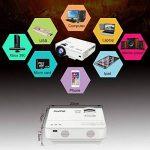 XuanPad Mini Projecteur 2400 Lumens Vidéoprojecteur Portable Retroprojecteur, 55000 Heures Multimédia Home Cinéma Projecteur, Compatible avec Amazon Fire TV Stick, Full HD 1080 P HDMI, VGA, USB, AV, ordinateur portable, iphone, Android Smartphone … de la image 4 produit