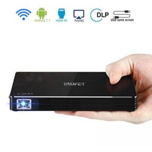 Yaufey Mini Pico Projecteur DLP Vidéo Projecteur, Mini Vidéoprojecteur Wireless Android 7.1 Portable Projecteurs pour Home cinéma, Full HD 1080p LED Projector avec trépied et câble HDMI de la marque Yaufey image 0 produit