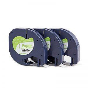 yenlok 3 X Ruban Cassette Dymo LetraTag Cartouche 91200 S0721510 Papier Blanc 12 mm par 4 m Pour LetraTag LT-100H LT-100T LT-110T QX 50 XR XM 2000 Plus de la marque yenlok image 0 produit
