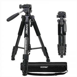 ZOMEIQ111 Caméra Trépied 55 pouces Professional Aluminium Caméscope Stand avec tête Pan et Support de téléphone Support pour Projecteur Gopro DSLR Canon Nikon Sony DV Vidéo et Smartphones Diffusion en direct (Noir) de la marque Zomei image 0 produit