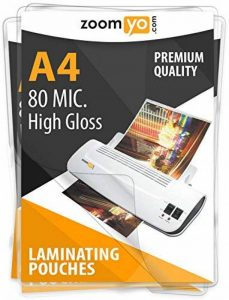 Zoomyo Pochettes de plastification A4 |160 micromètres (2 x 80 µm) | Haute brillance | Pack de 100 de la marque zoomyo image 0 produit